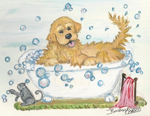Golden in Tub by Barbara Wood